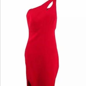 Xscape one length thigh slit one strap red dress